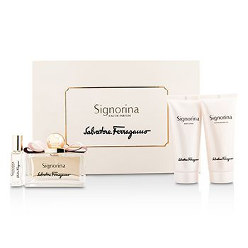 Salvatore Ferragamo Signorina Coffret: Eau De Parfum Spray 100ml/3.4oz + Body Lotion 100ml/3.4oz + Bath & Shower Gel 100ml/3.4oz + Roll On 7ml/0.24oz
