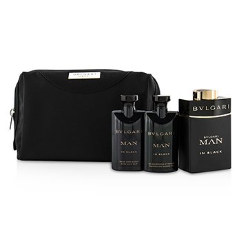 Bvlgari In Black Coffret: Eau De Parfum Spray 100ml/3.4oz + After Shave Balm 75ml/2.5oz + Shower Gel 75ml/2.5oz + Pouch