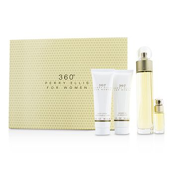 Perry Ellis 360 Coffret: Eau De Toilette Spray 100ml/3.4oz + Body Lotion 90ml/3oz + Shower Gel 90ml/3oz + EDT Spray 7.5ml/0.25oz