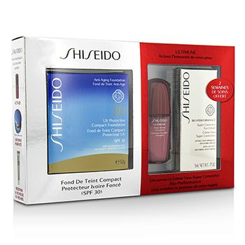 Shiseido UV Protective Powder Coffert: 1xUltimune Concentrate, 1xBio Performance EyeCream, 1x Compact Foundation - #SP70
