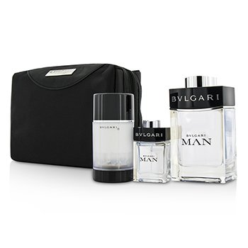 Bvlgari Man Coffret: Eau De Toilette Spray 100ml/3.4oz + Travel Spray 15ml/0.5oz + Deodorant Stick 75ml/2.7oz  + Travel Pouch