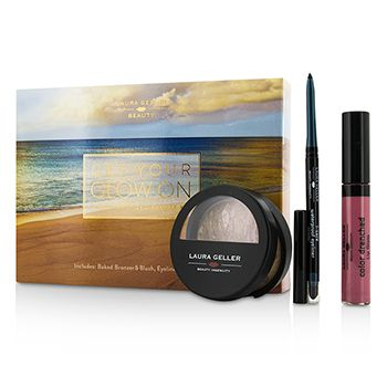 Laura Geller Get Your Glow On (A Full Bronzed Beauty Kit): 1x Blush n Glow, 1x I Care Waterproof Eyeliner, 1x Color Drenched Lip Gloss