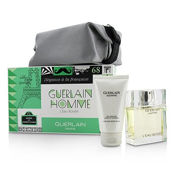 Guerlain Homme L'Eau Boisee Coffert: Eau De Toilette Spray 80ml/2.7oz + Hair and Body Wash 75ml/2.5oz + pouch