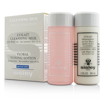 Sisley Cleansing Duo Travel Selection Set: Cleansing Milk w/ White Lily 100ml/3oz + Floral Toning Lotion 100ml/3oz