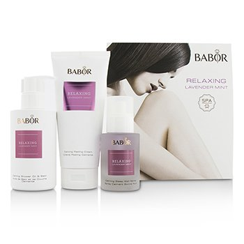 Babor SPA Relaxing Lavender Mint Coffret: Shower Oil & Bath 200ml + Peeling Cream 200ml + Sleep Well Spray 50ml