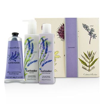 Crabtree & Evelyn Lavender Essentials Set: Bath & Shower Gel 250ml + Body Lotion 245ml + Ultra-Moisturising Hand Therapy 100g