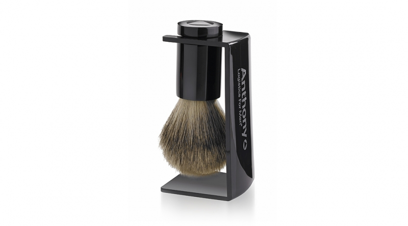 Anthony Logistics Men's Whisker Lifter Shave Brush & Stand