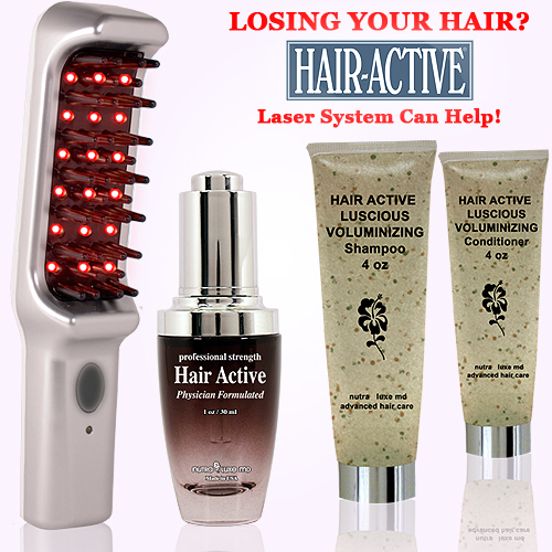 Nutra Luxe Hair Active Laser Hair Comb Set (w/Hair Active Serum, Shampoo & Conditioner)