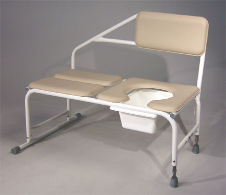 Tub Transfer Bench w/ Removable Padded Back & Padded Commode Seat (600 lb capacity)