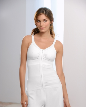 Amoena Hannah Post-Surgery Camisole (Front-Closure) - W/ 2 Fiberfill Leisure Forms & 2 Removable Drains