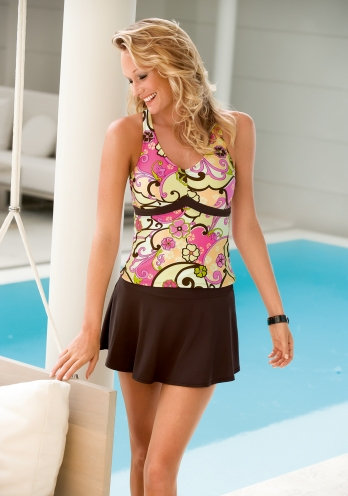 Amoena Pink Long Beach Empire Swimsuit Top