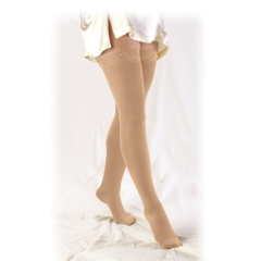 Truform Unisex Thigh High Compression Stockings w/ Stay-Up Lace Top (Closed Toe) - 20-30 mmHg