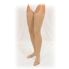 Truform Unisex Thigh High Compression Stockings w/ Stay-Up Beaded Tracking Top (Open Toe) -20-30mmHg