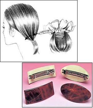 Curly Bow Barrette Wiglet by Look of Love Snap-On Express Collection