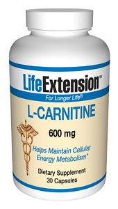 Life Extension Carnitine 600 mgs 30 Capsules