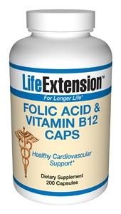 Life Extension Folic Acid + B12  200 Capsules