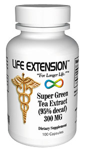 Life Extension Super Green Tea Decaffeinated 300 mg 100 Capsules