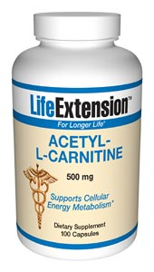 Life Extension Acetyl-L Carnitine 500 mg 100 Capsules