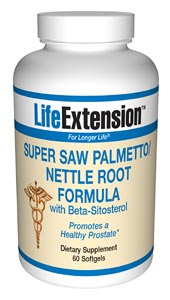 Life Extension Super Saw Palmetto/Nettle Root W/Beta Sitosterol 60 Softgels