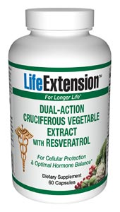 Life Extension Dual Action Cruciferous Veg Extract W/ Resveratrol 60 Caps