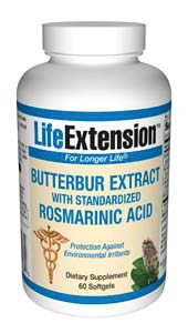Life Extension Butterbur Extract W/ Stdzd Rosmarinic Acid 60 Softgels