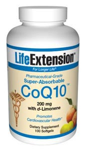 Life Extension Enhanced Super Absorbable Coq10 w/D-limonene 200mg 100 Softgels