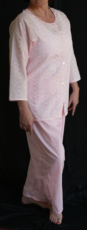 Luisa Post-Mastectomy/Breast Surgery Fashionable Pajamas (W/ Eyelet 3/4 Jacket & Pants) - 100% Cotton