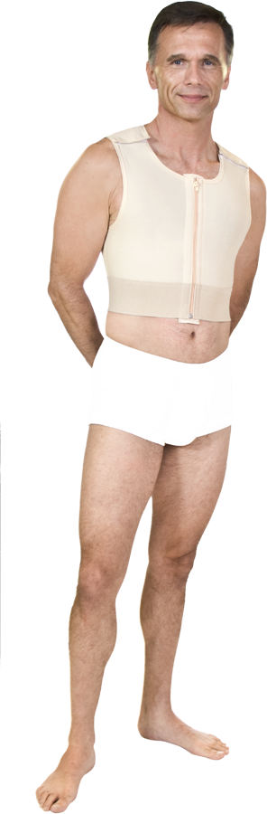 Male Short Abdominal, Chest, Back & Arm Cosmetic Surgery Compression Vest w/Zipper (Marena) - Opened