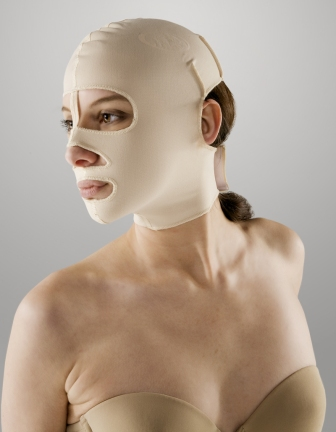 Full Facial Plastic Surgery Compression Garment W/Open Eyes, Nose & Mouth (Marena) OPENED