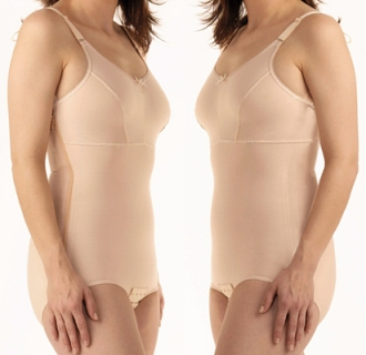 Full Body Brief Plastic Surgery Compression Garment w/ Bra (w/Zipper) - Stage One (Marena)