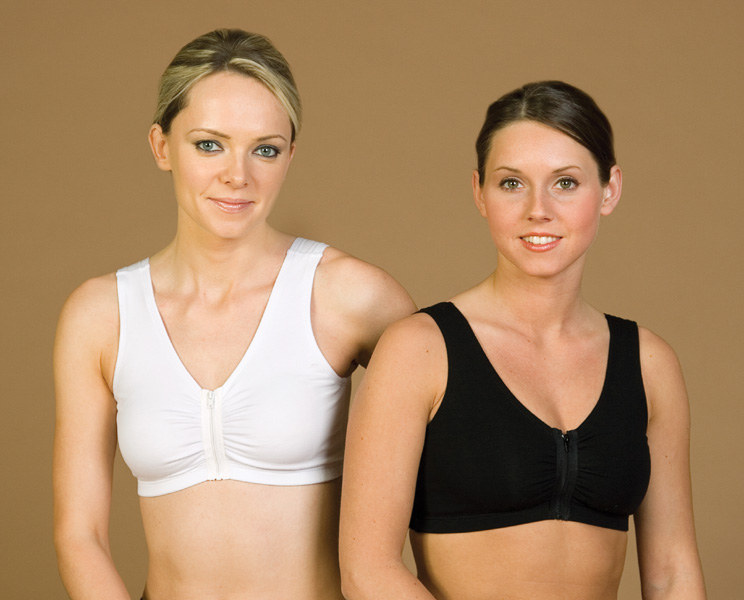 Breast Augmentation/Reduction Cotton Sports Bra w/Front Zipper (Contemporary Design)