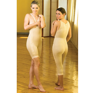 High Back Below Knee Plastic Surgery Compression Garment - Stage 1 w/Zipper (Contemporary Design)