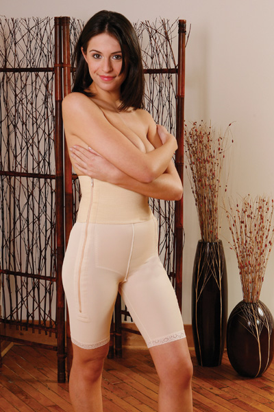 "Mid Thigh Plastic Surgery Compression Garment  Stage 1 w/ Zipper 6"" Waistband -Contemporary Design"