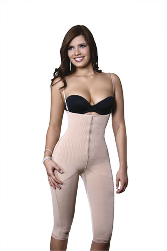 Vedette Deline Medium Control Post Surgery Capri Body Shaper w/Adjustable Straps & Front Zipper