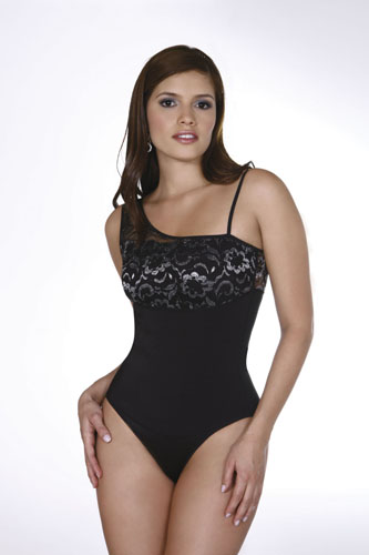 Vedette Marian Dual Control Body Suit w/ Lace Thong