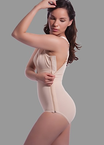 High Back Plastic Surgery Compression Garment w/Bra & Zipper- Stage 1