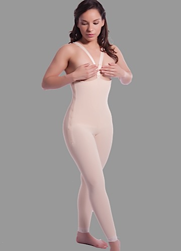High Back Ankle Length Plastic Surgery Compression Garment w/Zipper- Stage 1