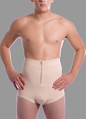 Male High-Waist Abdominal Cosmetic Surgery Compression Brief w/Zippers