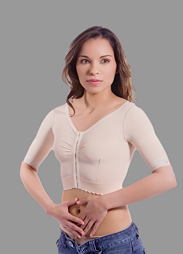 "Short Sleeve Breast Augmentation/Reduction Support Bra/Vest w/2"" Elastic Band"