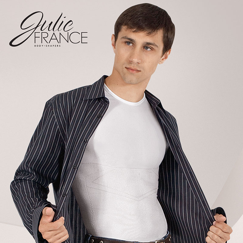 Julie France-Euroskins Men's Compression Shaper Body Support Crew Neck T-Shirt