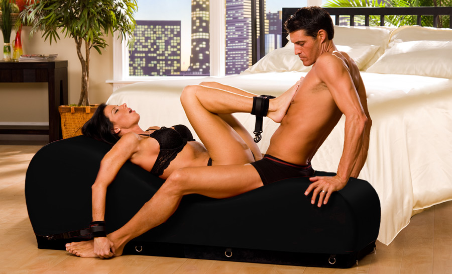 Liberator Black Label Esse Chaise Sex Enhancing Platform Sex Pillow w/ wrist, ankle cuffs, blindfold, and tethers