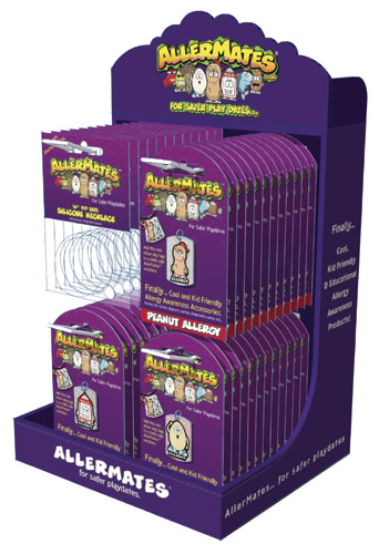 AllerMates Countertop Display w/24 DogTags&20 Necklace Cords