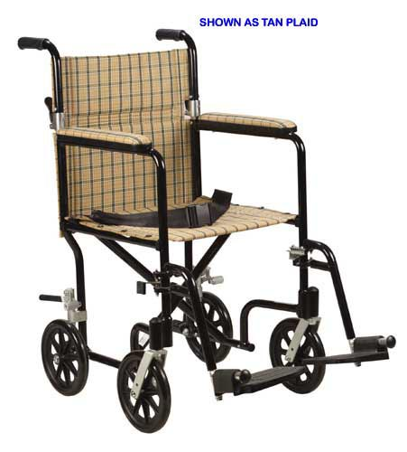 Aluminum Transport Chair 19  Tan Plaid/Designer Fly-Weight