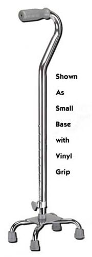 Quad Cane-Large Base Silver w/Vinyl Grip