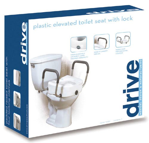 Raised Toilet Seat With Lock & Plastic Arms