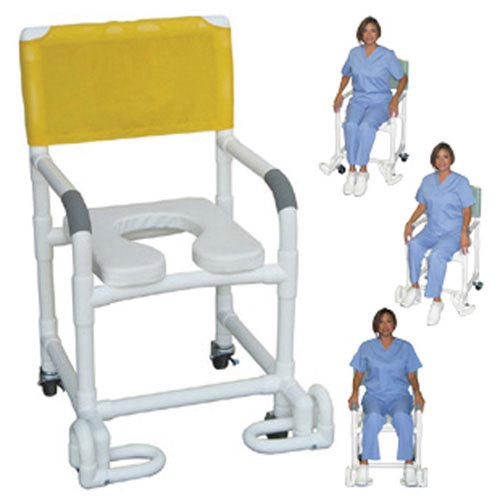Shower Chair PCV w/Deluxe Elongated Soft Seat & Footrest