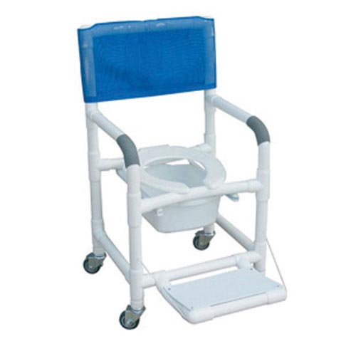Shower Chair PVC Deluxe w/Folding Footrest & Sq. Pail
