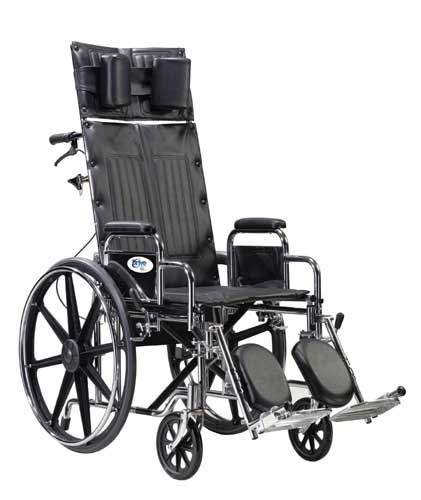 Wheelchair Full Reclining 16  w/Rem &  Adj Ht Full Arms