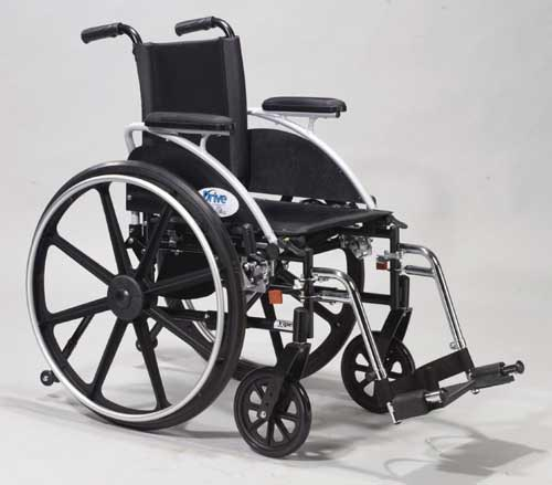 Wheelchair Ltwt Deluxe(K-4)16  w/F;ip-Back Adj Rem Full Arms