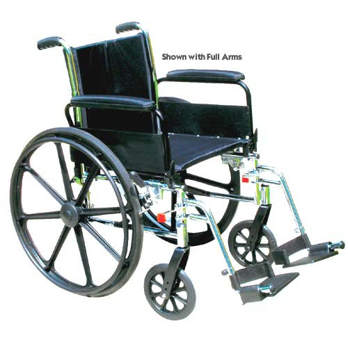 Wheelchair Ltwt K-3 Flip-Back Full Arms 18